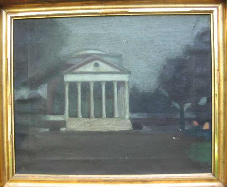 <center>University of Virginia, Moonlight on the Rotunda, 1911