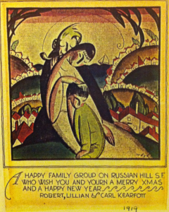 """A 1919 Christmas card reads """"A happy family group on Russian Hill S.F. who wish you and yourn a merry Xmas and a happy new year. Robert, Lillian, and Carl Kearfott"""