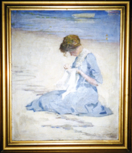 Woman in Blue on the Beach